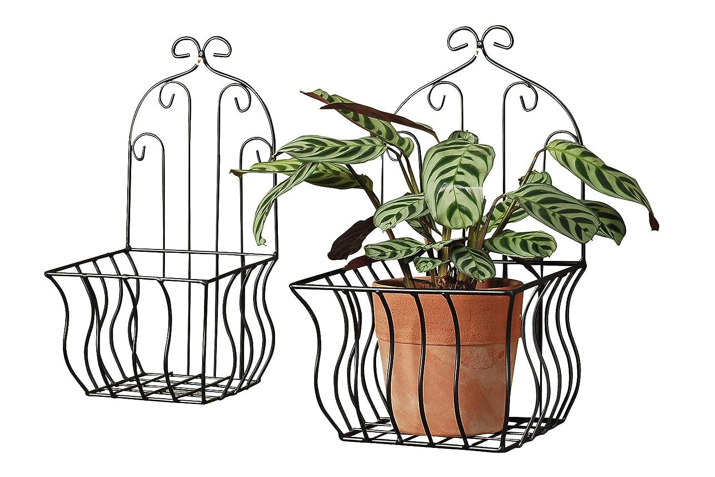 Parete Cestino Set 2 pezzi neri 35+32cm Ferro Cestino da parete Vaso piante Cesto piante B&B