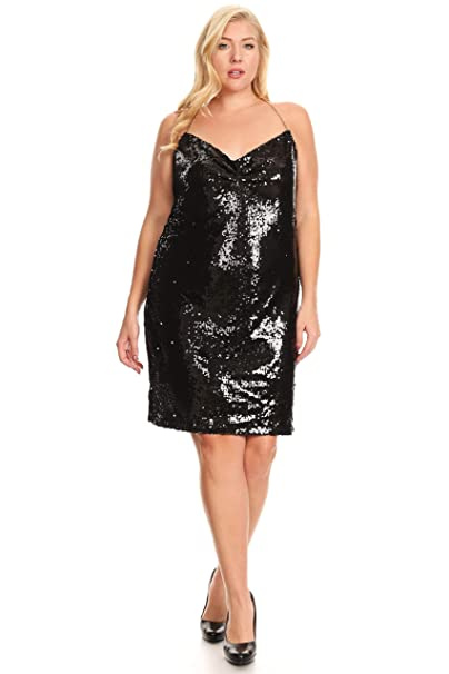 C.O.C. Curve Women Plus Size Sequin Halter Dress Black 1X at ...