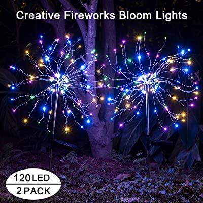 Solar Lights Outdoor Garden Decorative -Mopha Metal 120LED Powered 40Copper Wiress Stake String Pathway Light-DIY Flowers for Patio, Backyard Decor