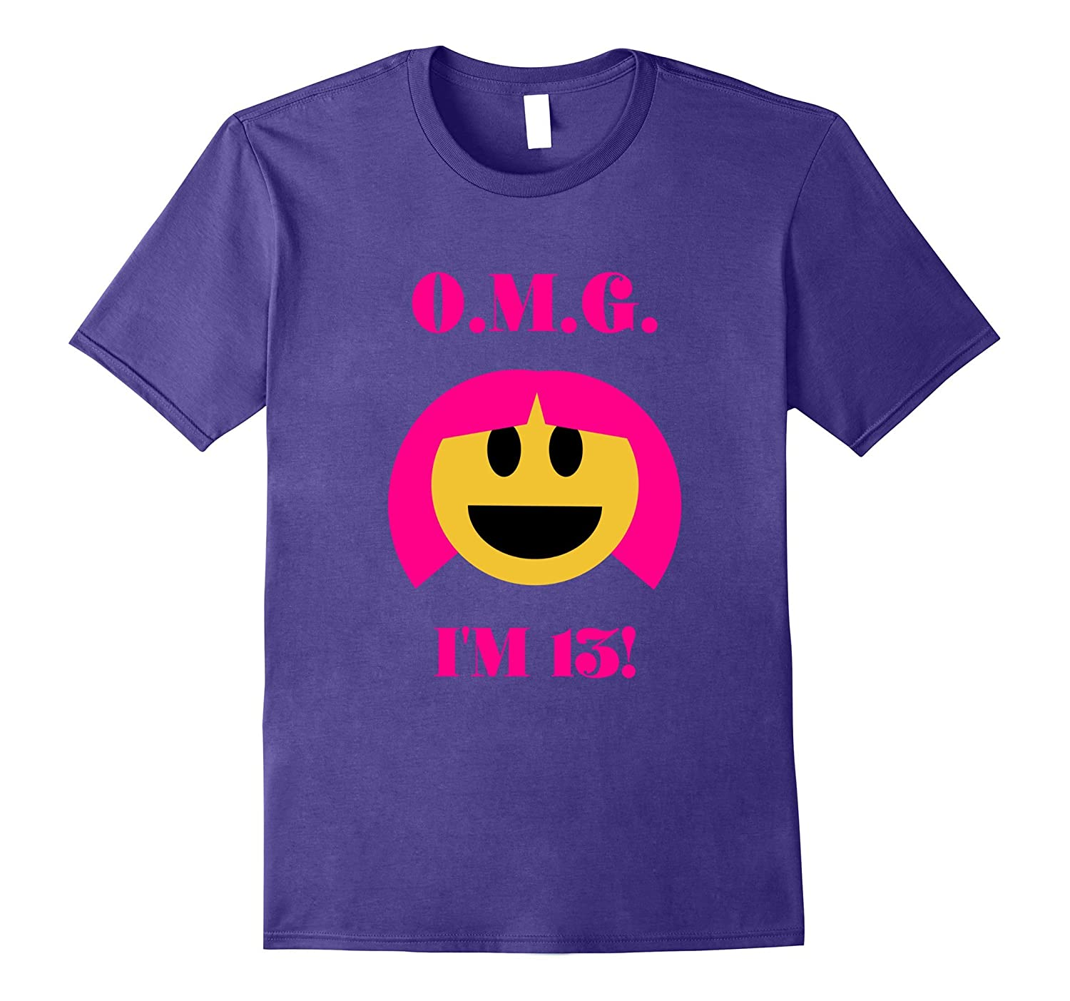 OMG Im 13 Happy Birthday Emoji 13 Year Old Girl T-Shirt-CD
