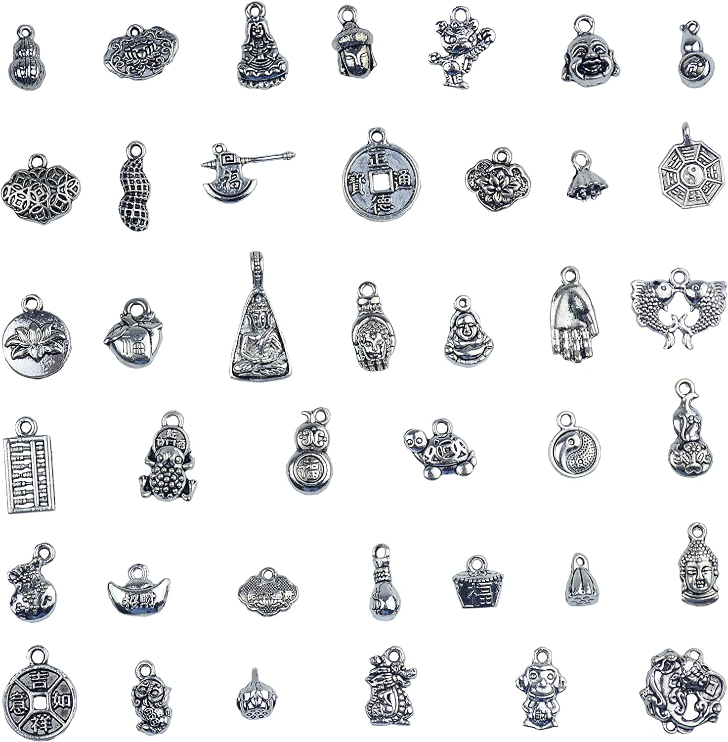 Wholesale 24 pcs Assorted Vintage Alloy Buddha Head Beads Charms Pendant Crafts
