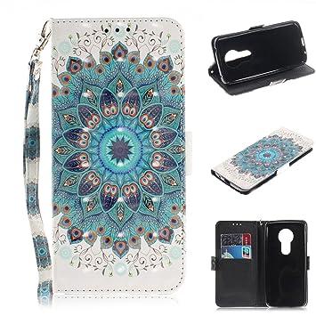 xifanzi Funda para Motorola E5 Plus Cuero Lujo Brillante 3D PU Piel Drawing Tapa Protector Glitter Folio Estuches con Acollador Funda Wallet Flip ...