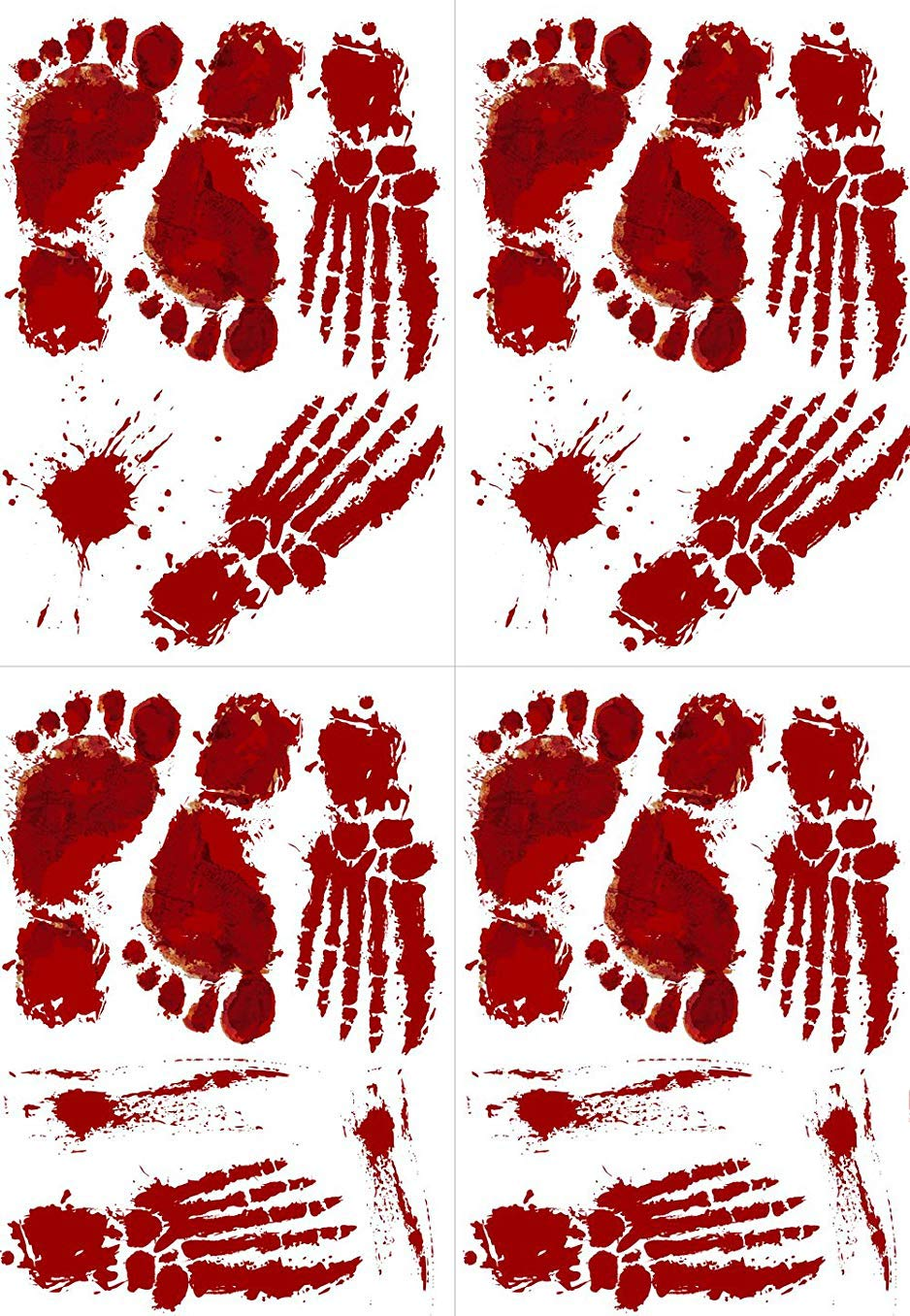 Yuson Girl Halloween Party Decorations Bloody Footprints Palm Prints Window Wall Floor Static Sticker Clings Decal Supplies