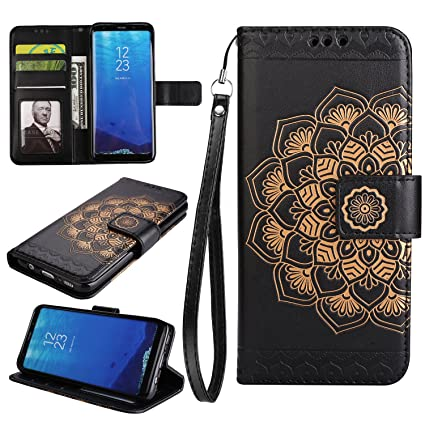 NEXCURIO [Embossed Flower] Samsung Galaxy S8 Wallet Case with Card Holder Folding Kickstand Leather