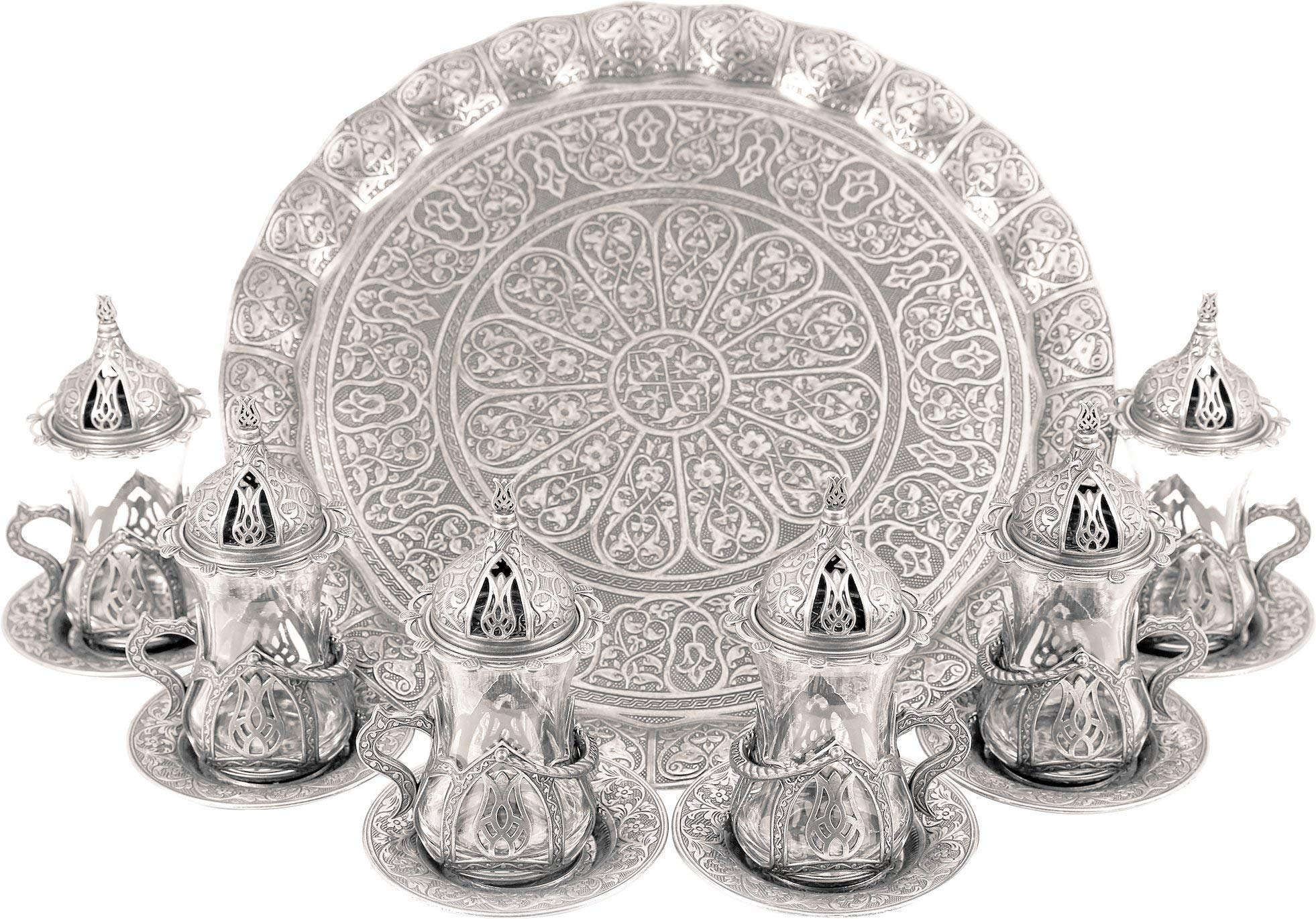 Turkish Moroccan Indian Tea Set for Six - Glasses with Brass Holders Lids Saucers Tray, Tea Cups, Tea Servers- (TS-202)