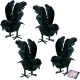 Halloween Haunters Realistic Feathered Black Crows Prop Decoration (Set of 4) - Scary Standing Flying Birds, Blackbirds…