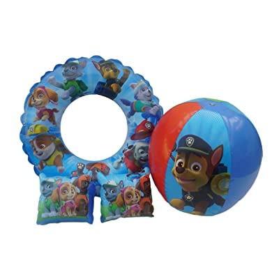 "Paw Patrol Inflatable 20"" Beach Ball, Rings Plus Arm Floats Play Set: Toys & Games"