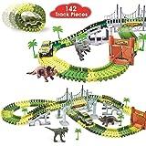 BlueFire Dinosaur World Race Car Track Train Toys Create A Road Dinosaur Track Toys Playset with 142 Pieces Tracks, Dinosaur Toys and Toy Car, Perfect Christmas & Birthday Kids