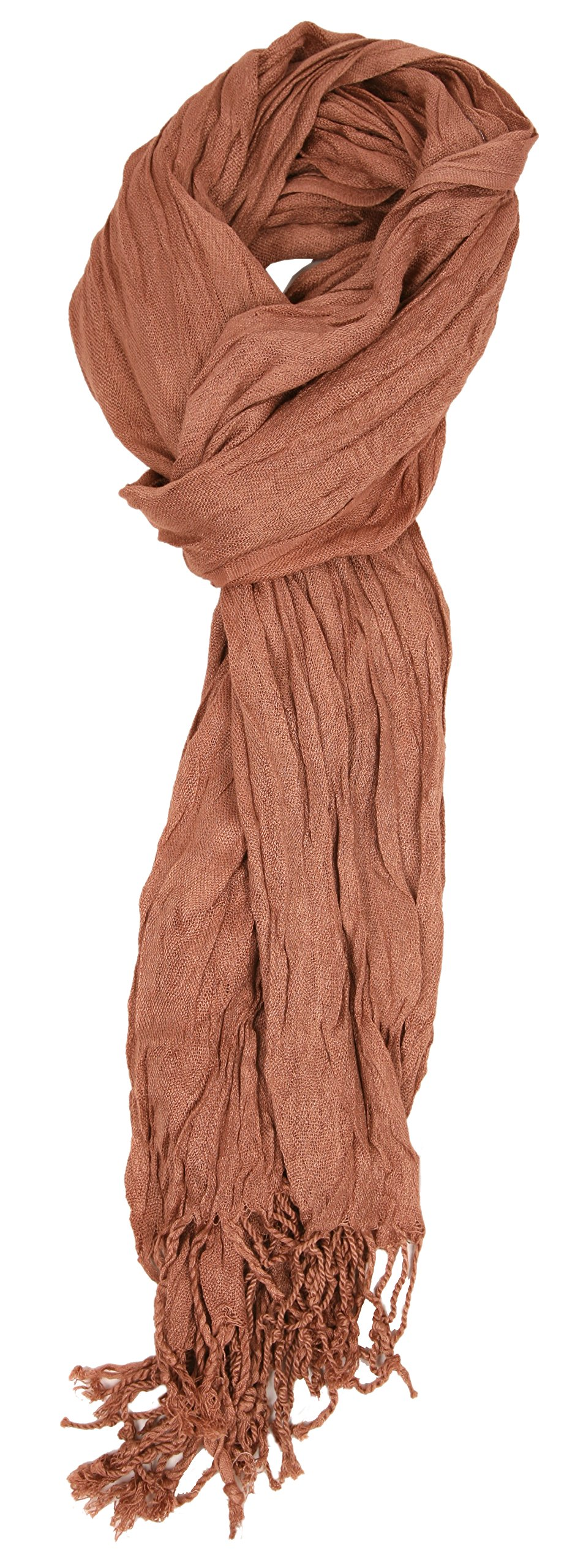 Love Lakeside-Women's Must Have Solid Color Crinkle Scarf (One, Cinnamon)
