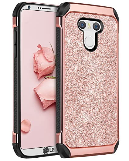 promo code d81b7 d1952 LG G6 Case,LG G6 Phone Case,BENTOBEN Luxury Glitter Sparkly Bling Slim 2 in  1 Hybrid Hard PC Cover Flexible TPU Laminated Shiny Faux Leather Chrome ...