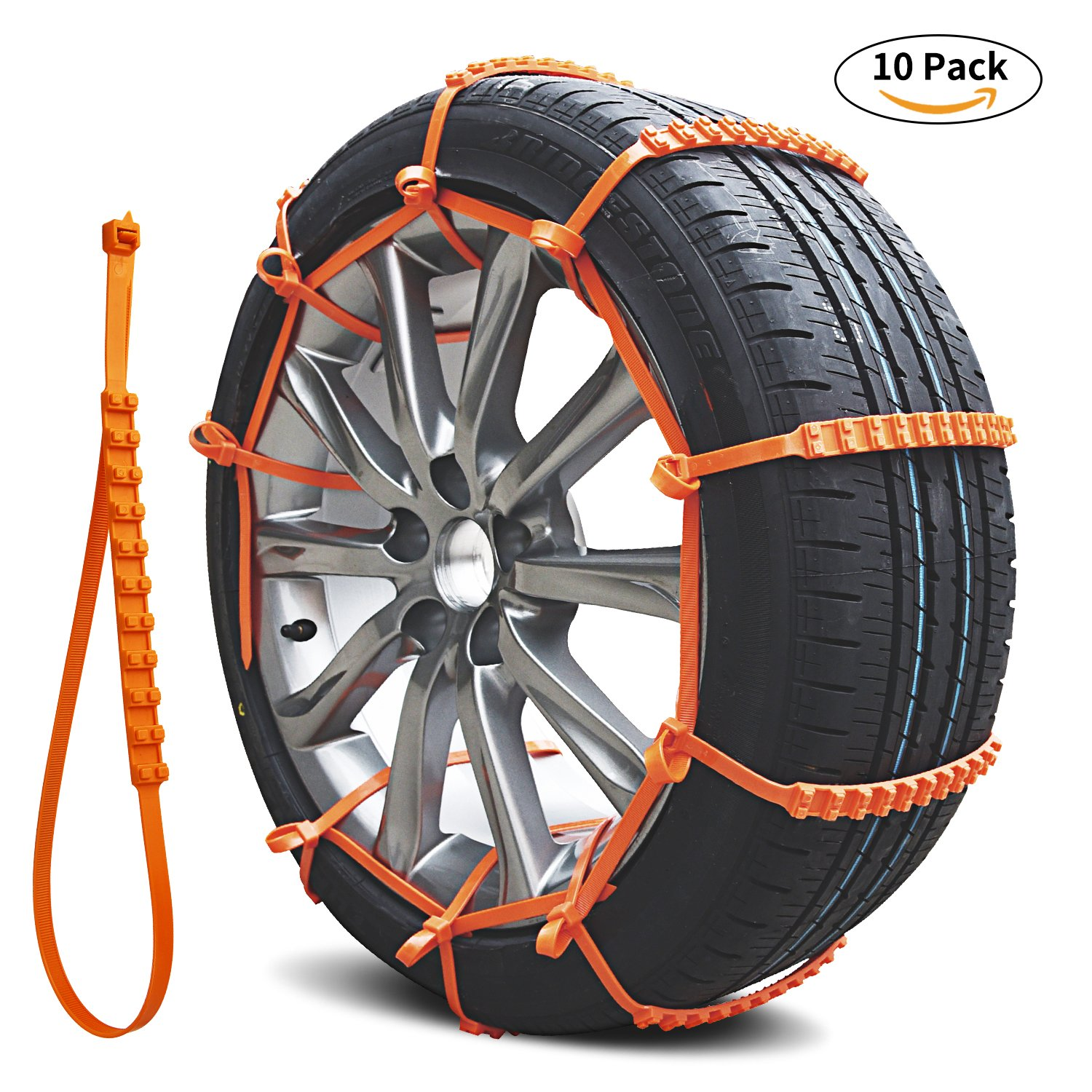 Snow Chains, Emergency Tire chains Tire Chains Adjustable Snow Cable Chains Emergency Chains Fit for Most Car/SUV 10PCS