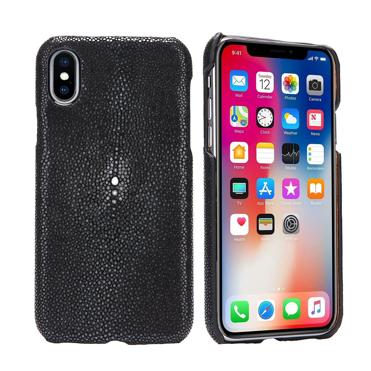 Luxury Case for iPhone X Hand Made from Genuine Stingray Fish Skin Superior Quality Bumper Case for iPhone X (Stingray Edition - Gentlemen Black)