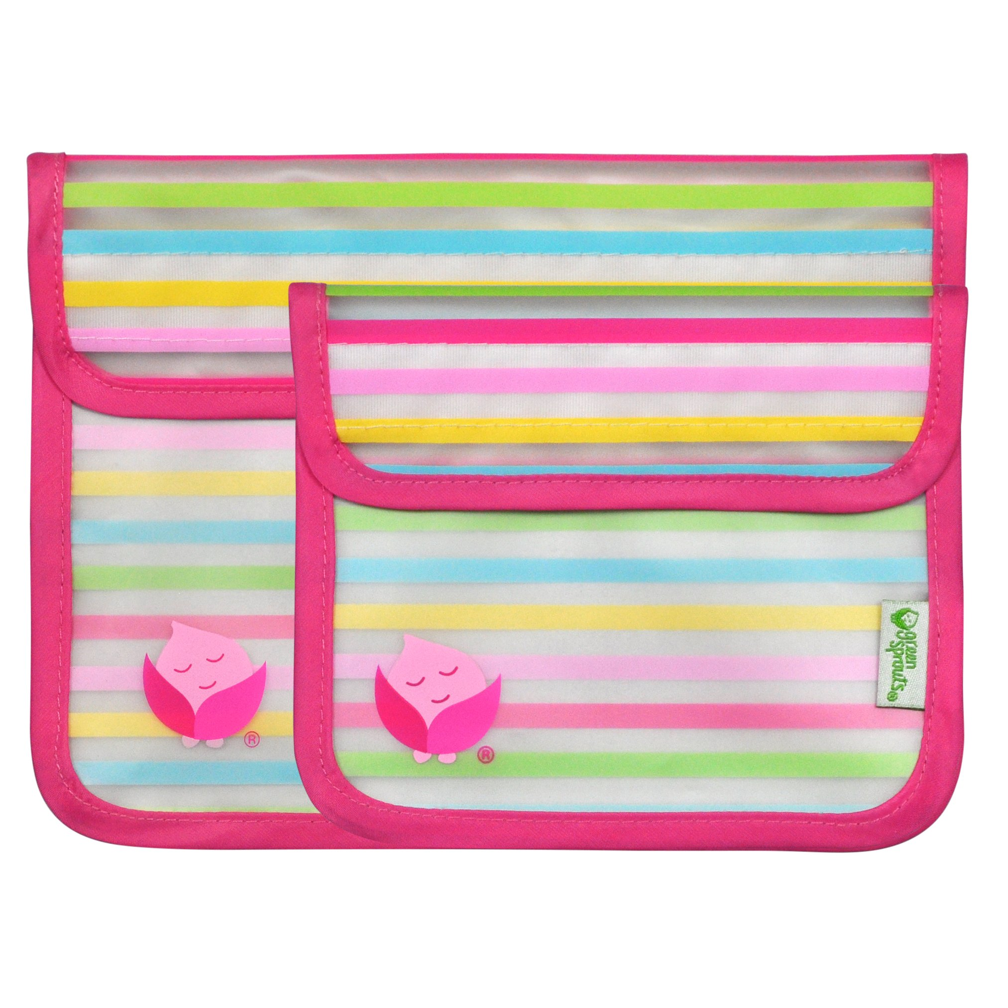 green sprouts 2 Piece Reusable Snack Bags, Pink