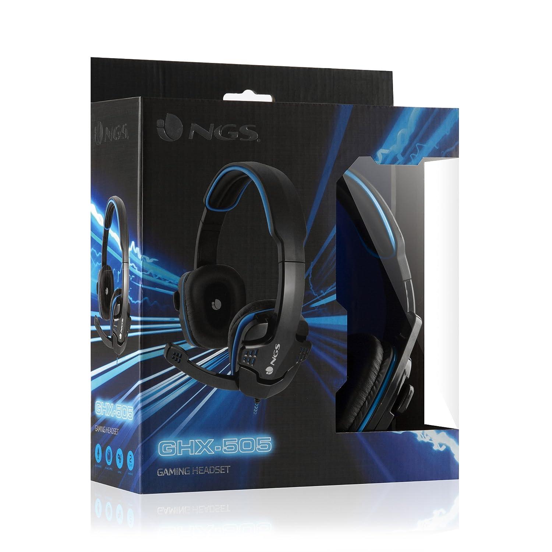 NGS GHX-505 Diadema Binaurale Alámbrico Negro, Azul - Auriculares (Alámbrico, Diadema, Binaurale, Circumaural, 20-20000 Hz, Negro, Azul): Amazon.es: ...