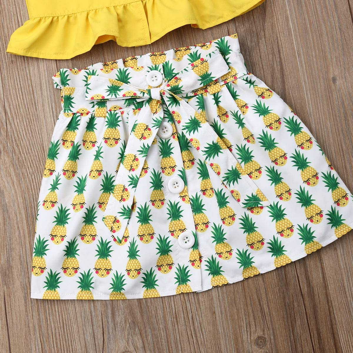2Pcs Toddler Kids Baby Girls Ruffle Strap Crop Top+Bowknot Floral Skirt Summer Outfit Clothes Set
