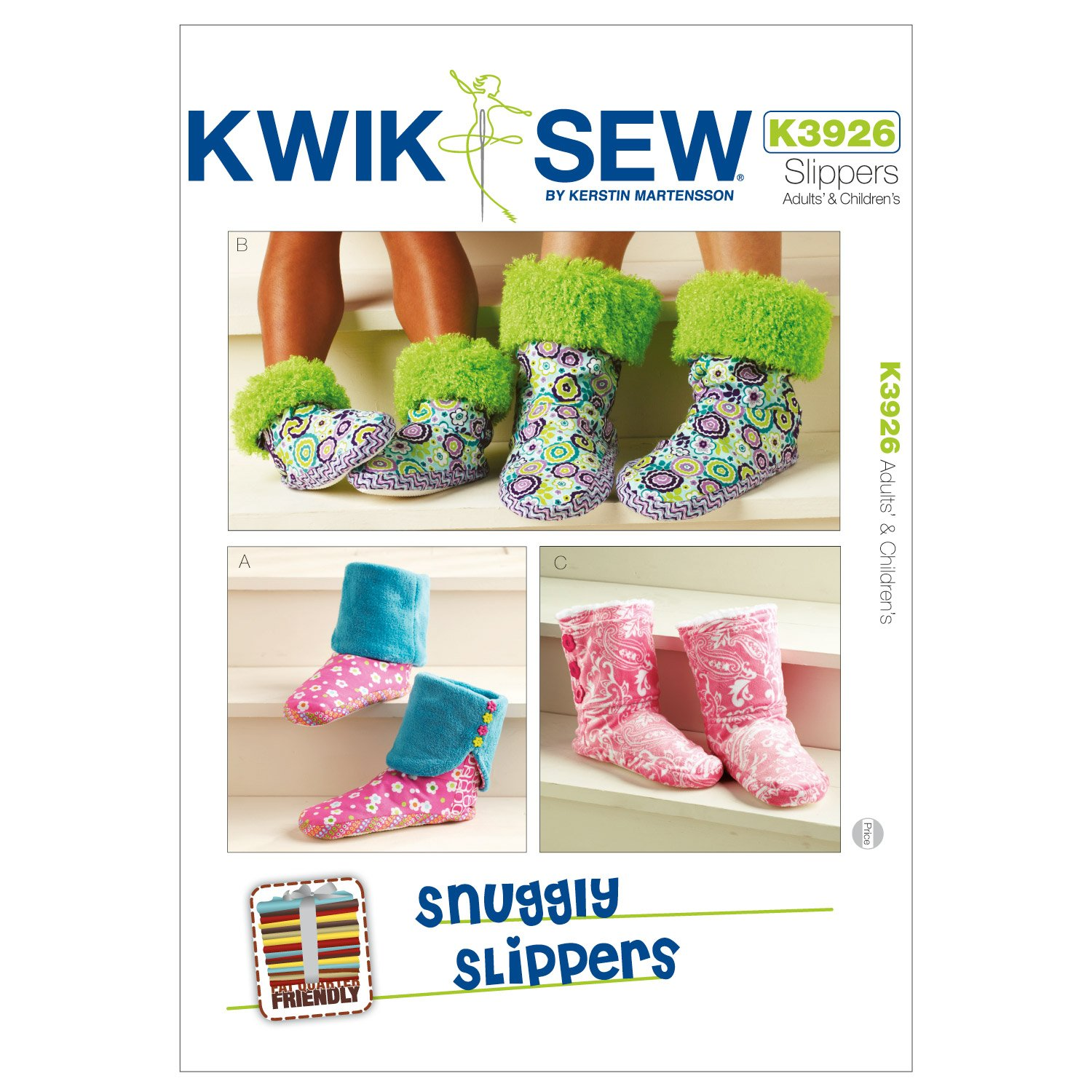 Kwik Sew K3926 Snuggly Slippers Sewing Pattern, Size Adult and Children XS-S-M-L-XL McCall Pattern Company K3926OSZ