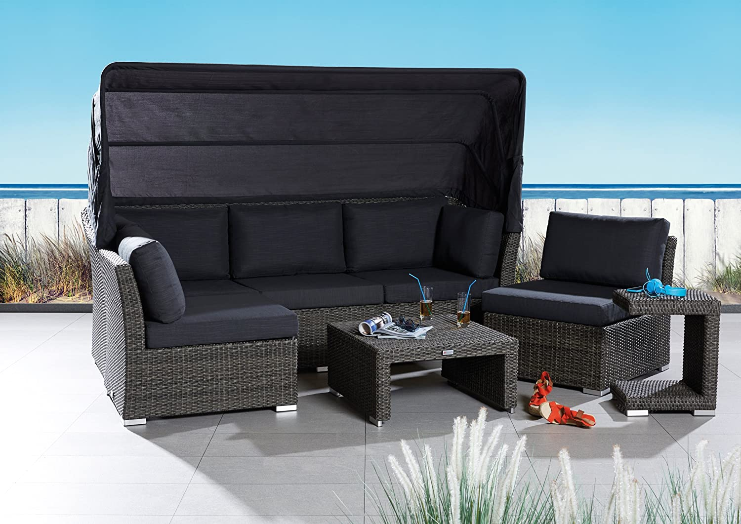 poly rattan sonneninsel set strandkorb barcelona relax gartenm bel muschel set strandmuschel. Black Bedroom Furniture Sets. Home Design Ideas