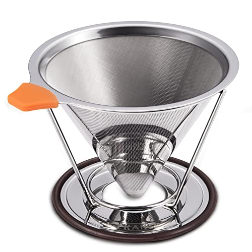 E-PRANCE Reusable Pour Over Coffee Filter, Cone Coffee Dripper Paperless, Permanent 18/8 (304) Stainless Steel double mesh Pour Over Coffee Maker with Separate Stand for 1-4 cups