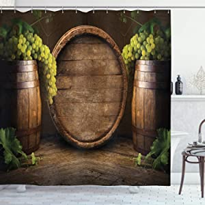 Ambesonne Winery Shower Curtain, Still Life of Wine with Wooden Keg Old Fashioned Wine Keeper Tasting, Cloth Fabric Bathroom Decor Set with Hooks, 70