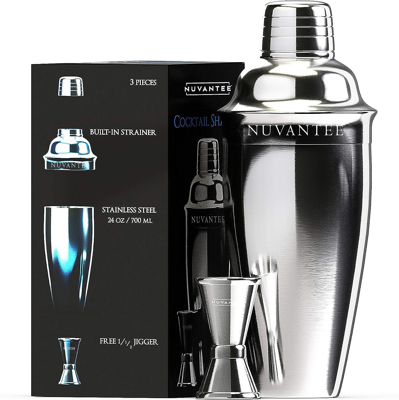 Nuvantee Set Cóctel Shaker - Premium Kit Bar con Vaso Medidor Gratuito - 700ml con Filtro Incorporado
