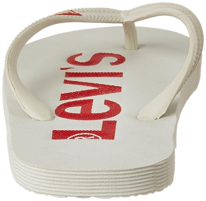 112250adb20 Levi s Men s White Flip Flops Thong Sandals - 7.5 UK India (41 EU)  Buy  Online at Low Prices in India - Amazon.in