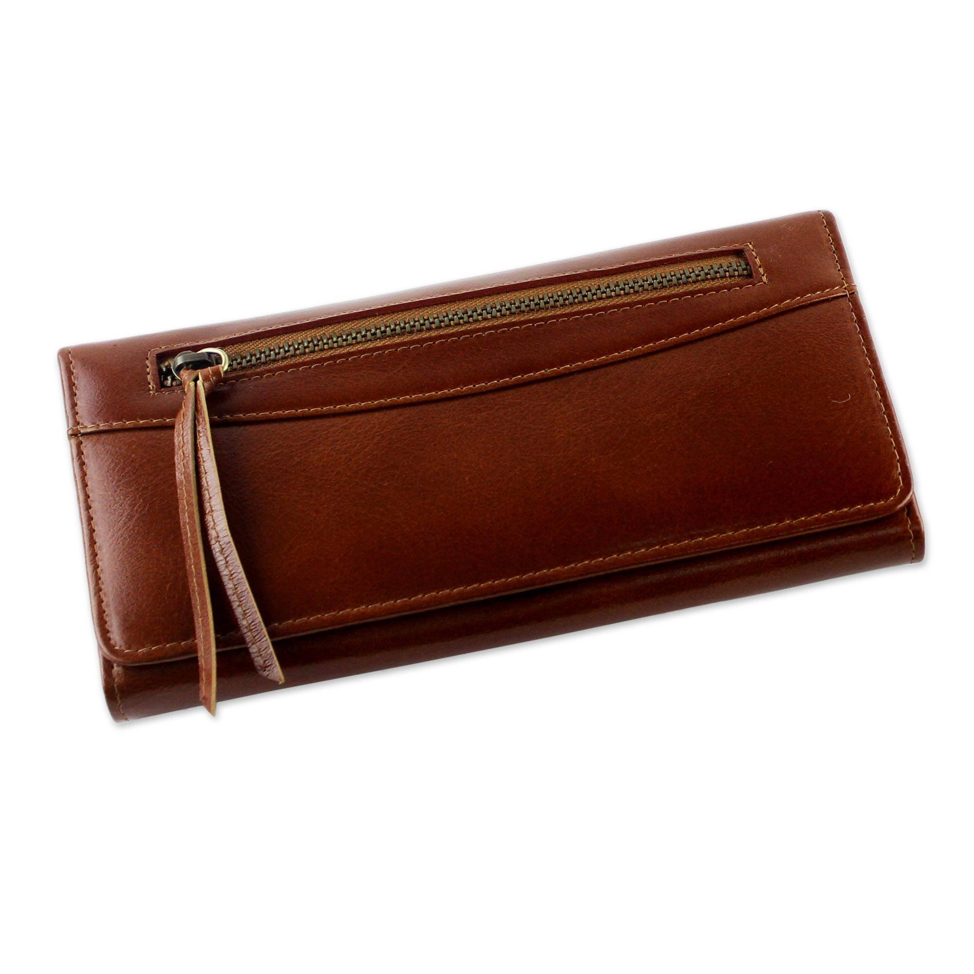 NOVICA Brown Leather Clutch, 'Touch of Love in Rust'