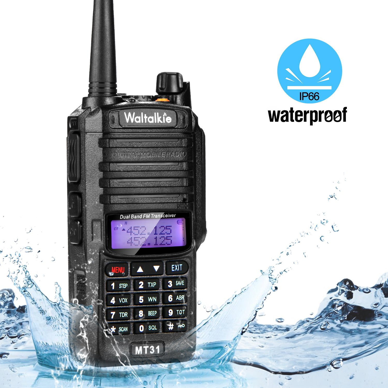 Wireless Radio Transceiver, IP66 Waterproof & Dustproof Two Way Radio Walkie Talkie with Headset/LED Flashlight/Battery/Charger for Indoor & Outdoor Activities