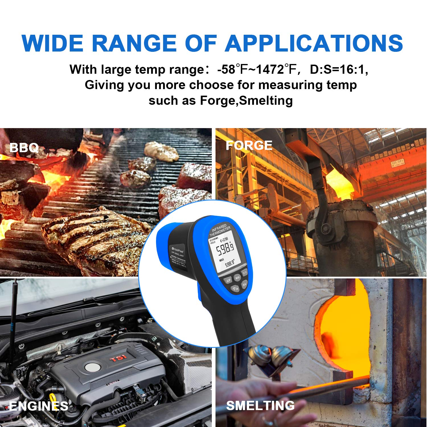 HOLDPEAK HP-985C-APP Infrared Thermometer Gun Connect to Your Phone via Bluetooth with APP,Non-Contact IR Temperature Gun -58 to1472℉(-50 to 800℃),DS 16:1 with Adjustable Emissivity for Forge Kiln by H HOLDPEAK (Image #7)