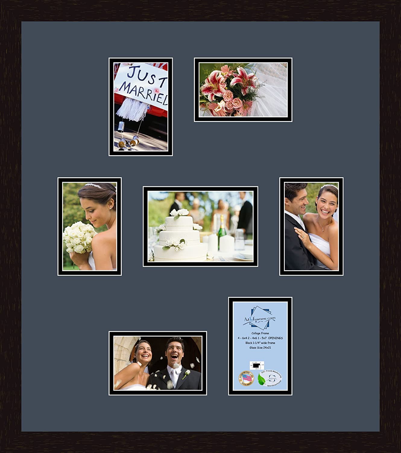 Art to Frames Double-Multimat-338-766//89-FRBW26061 Collage Frame Photo Mat Double Mat with 6-4x6 and 1-5x7 Openings and Espresso Frame