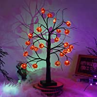 Kemooie 2Ft Tabletop Halloween Tree Lighted Birch Tree with 24 Pumpkin Ornaments, Battery Operated Light Up Black Spooky…
