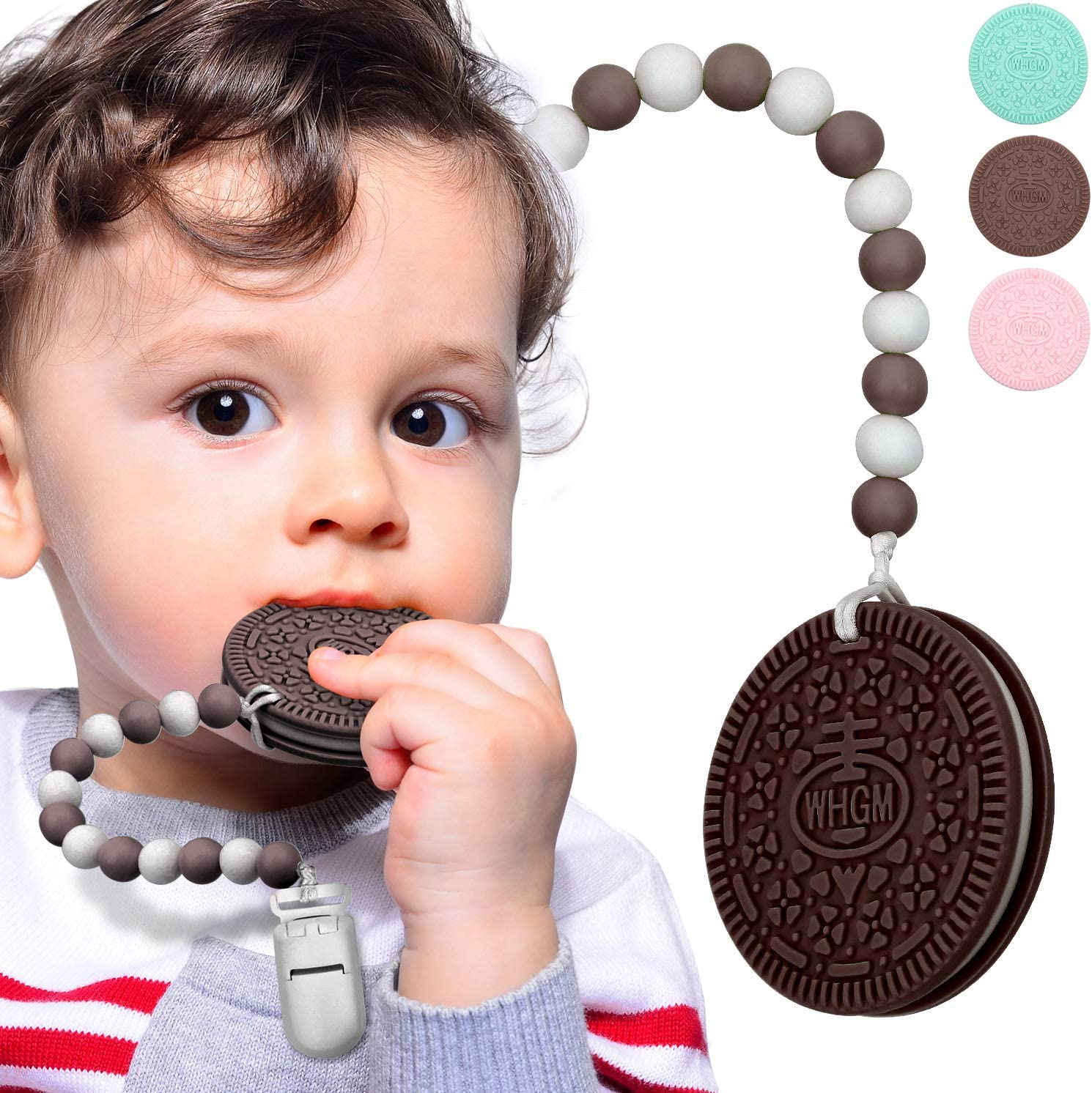 Baby Teether Teething Cookie Toys Silicone Teething Biscuit for with Teething Pacifier Clip Holder and Carry Box, Food-Grade Silicone BPA-Free Infant Toy for 0-24 Months Baby Boys & Girl (Brown)