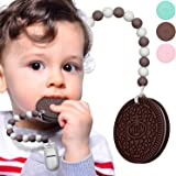 Baby Teether Teething Biscuit Toys Silicone Teething Cookies for Babies with Teething Pacifier Clip Holder, Food-Grade…