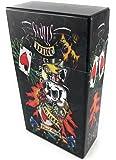 Offre Lagiwa Etui à paquet cigarettes en plastique couleur métallisée capacité 20 cigarettes 100'S modèle au choix avec 1 cadeau bonus (Skull 1)