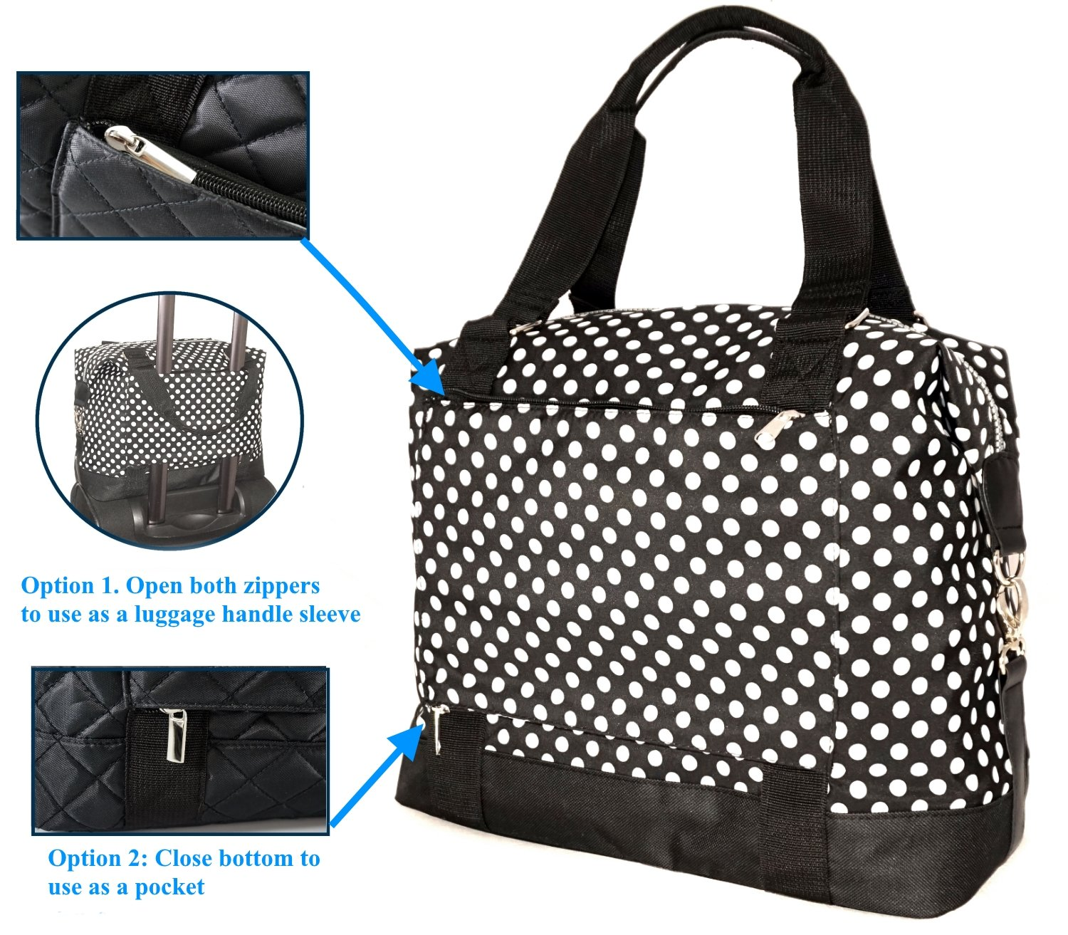 Travel Weekender Overnight Carry-on Under the Seat Shoulder Tote Bag (Small, Black & White Polka Dot) by Simplily Co. (Image #3)