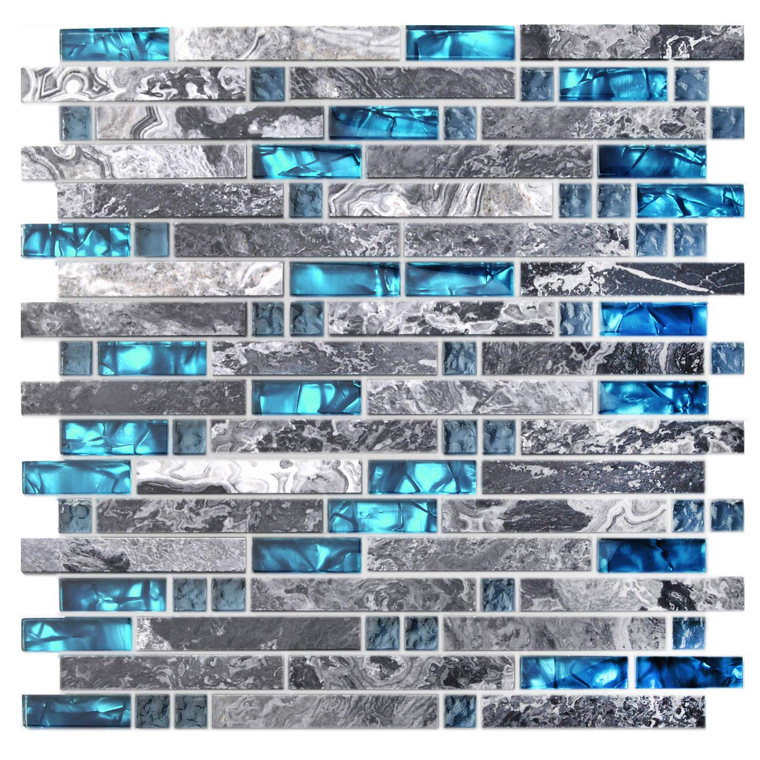 Home Building Glass Tile Kitchen Backsplash Idea Bath Shower Wall Decor Teal Blue Gray Wave Marble Interlocking Pattern Art Mosaics TSTMGT002 (1 Sample 12 x 12 Inches) by BLUJELLYFISH