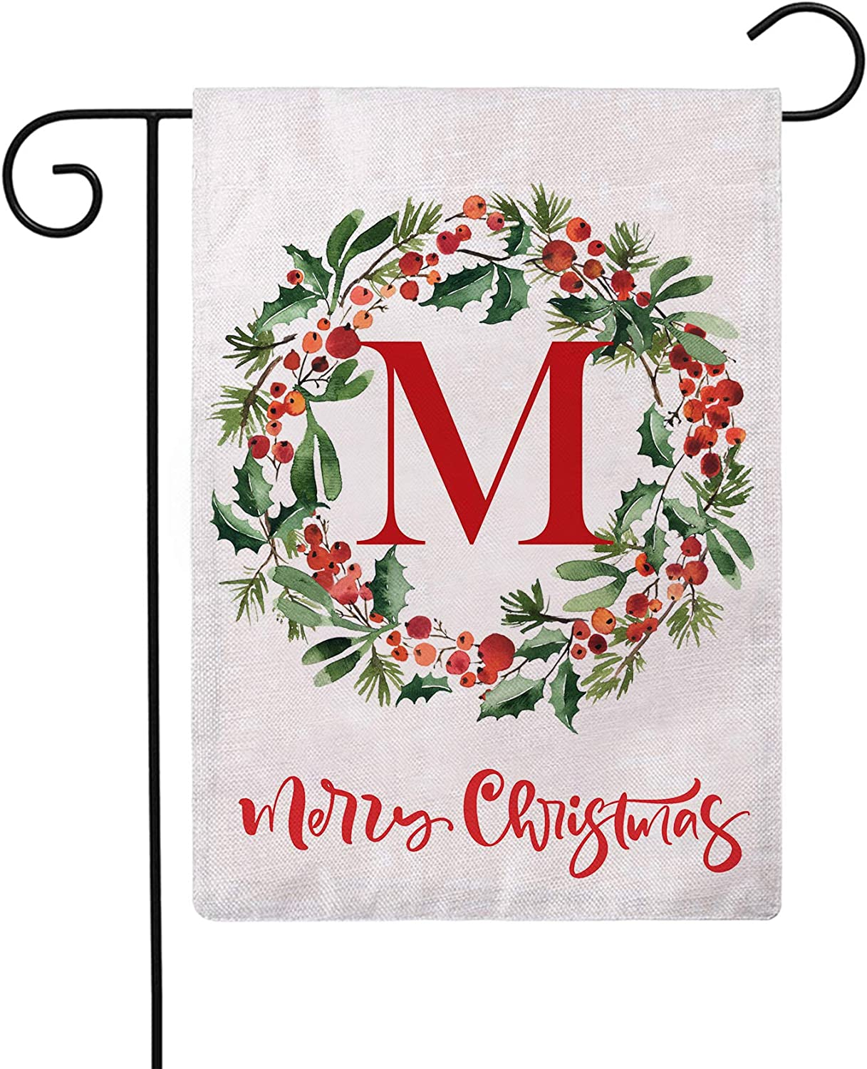 ULOVE LOVE YOURSELF Merry Christmas Wreath Decorative Garden Flags with Monogram Letter M Double Sided Winter Holiday Outdoor Garden Flags 12.5×18 Inch for House Garden Yard Patio Decor (M)