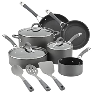 Circulon Radiance Hard-Anodized Nonstick Cookware Set, 9-Piece Set with Bonus Tools, Gray