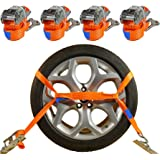 4 x Spanngurte Autotransport 2000 daN / 2,9m / 35 mm orange Radsicherung Reifengurt Zurrgurte Auto Transport PKW Radsicherungsgurt DIN EN 12195-2