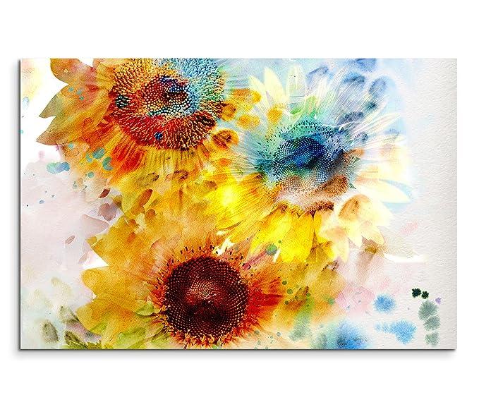120x80cm Leinwandbild auf Keilrahmen Blumen Wasserfarben Abstrakt