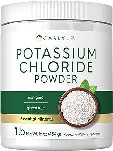 Potassium Chloride Powder Supplement | 16 oz | Food Grade | KCL Table Salt Substitute | Vegan, Vegetarian, Non-GMO, Gluten Free | by Carlyle