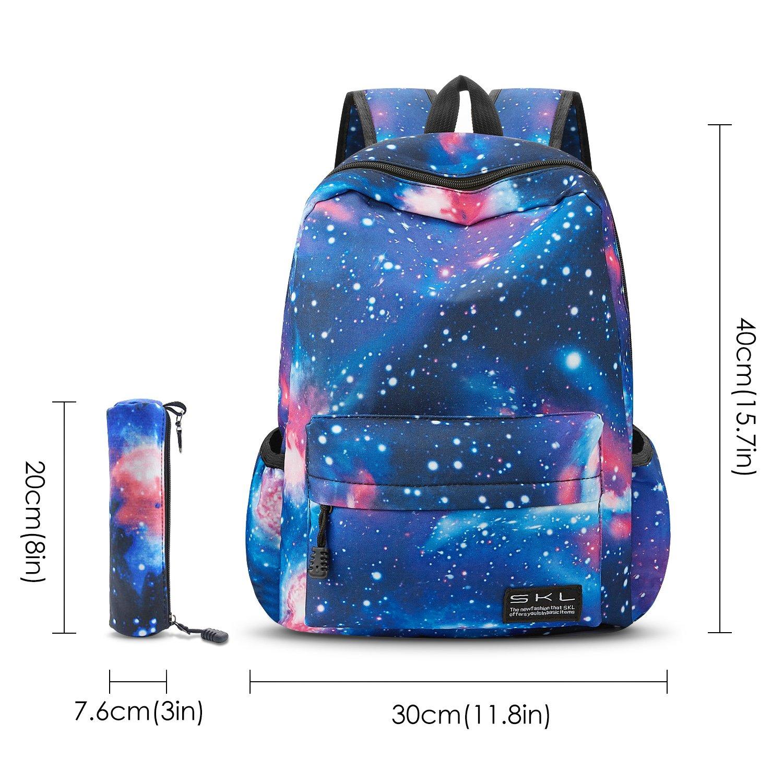 12ad98726aae Amazon.com: School Bag for Boys Girls, SKL Galaxy Blue Stylish Unisex  Canvas Book Bag School Backpacks for Girls Boys with Pen Bag: Computers &  Accessories