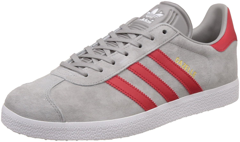 adidas Unisex-Erwachsene Gazelle Sneaker  45 1/3 EU|Grau (Mgh Solid Grey/Scarlet/Ftwr White)