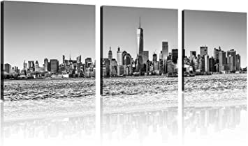 Tutubeer 3 Panel New York Skyline Wall Art New York City Skyline Black White Prints On Canvas New York Canvas Black And White Cityscape The Picture