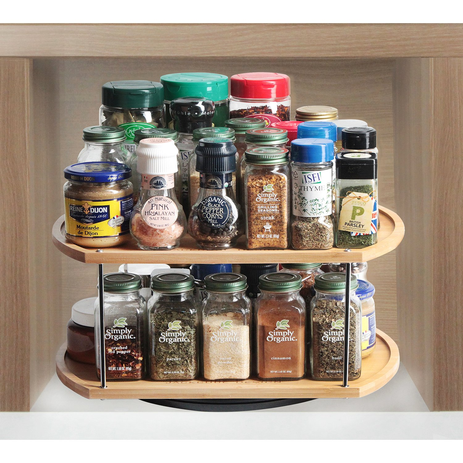 MK383A 35,6 x 29,8 x 18,2 cm JackCubeDesign 360 Rotante Lazy Susan Bamboo Spice Jar Rack Cucina Countertop Display Organizer Spice Bottle Piano di lavoro Holder Stand Mensola con Stunning 2 Tier -