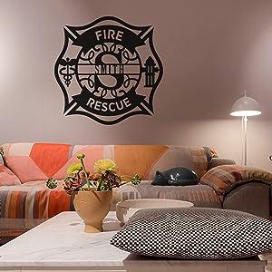 Diuangfoong Personalized Metal Maltese Cross Sign, Firefighter Metal Wall Decal,Custom Metal Name Sign, Metal Wall Decor,Metal Wall Art, Monogram Door Hanger