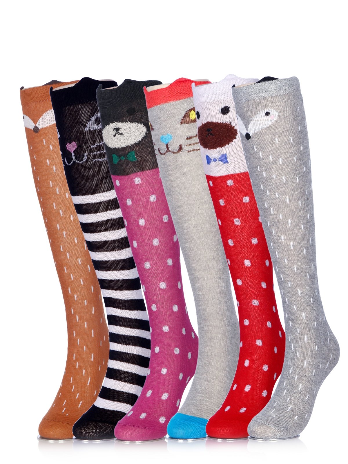 Girls Socks Knee High Stockings Cartoon Animal Warm Cotton Socks 6PCS 6a Colors One Size by CISMARK (Image #1)