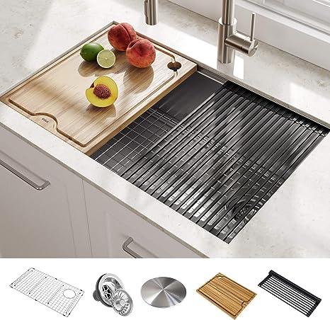 Kraus 16 Gauge Single Bowl Sink With Integrated Ledge (Best Sink For Multitasking)