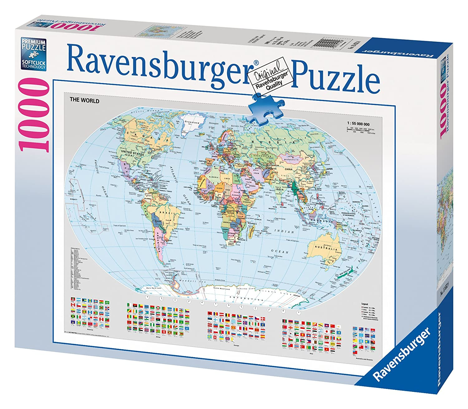 Ravensburger political map of europe 500pc jigsaw puzzle amazon ravensburger puzzle political world map 1000 pieces gumiabroncs Image collections