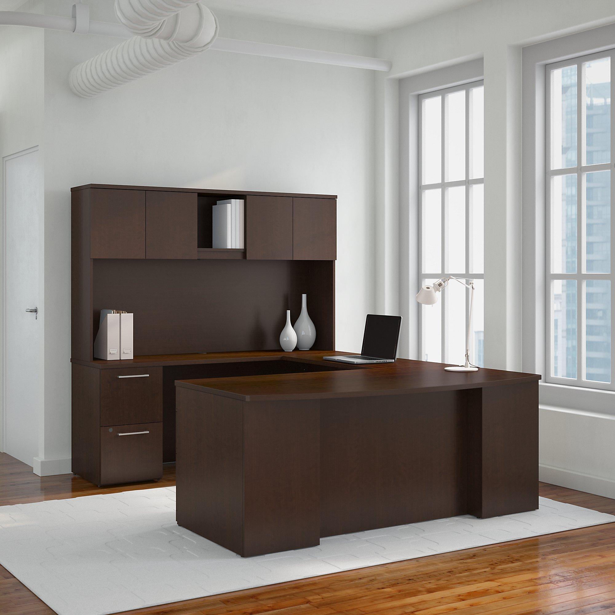 Bush Business Furniture 300S041MR 300 Series 72W x 36D Bow Front U Shaped Desk with Hutch, 2 Pedestals and 42W Bridge, Mocha Cherry