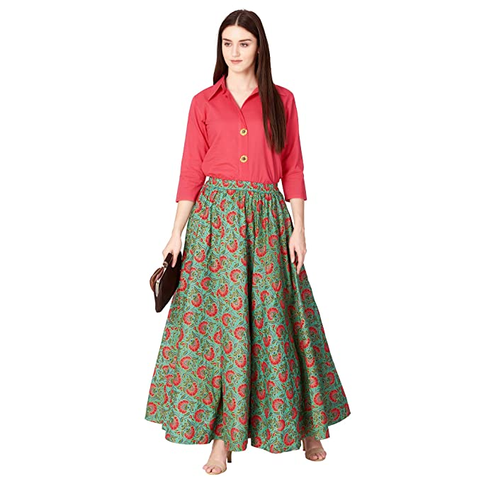 KHUSHAL K Women s Rayon Party Wear Top with Long Skirt Set (Red and Green ffd37af78